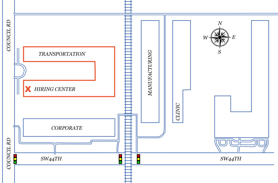 Map Of The Hobby Lobby Campus 3700 S Council Road Oklahoma City OK 73179 With Their Transportation Hiring Enter Highlighted In Red