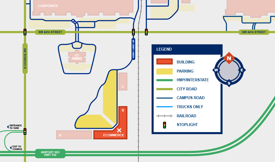 map showing location of Ecommerce building